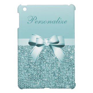 Printed Teal Blue Sequins, Bow & Diamond iPad Mini Cover