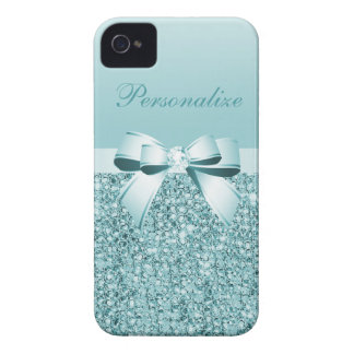 Printed Teal Blue Sequins, Bow & Diamond iPhone 4 Covers