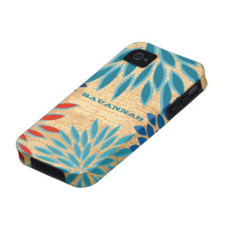 Printed Wood StarBurst Flower Personalized iPhone Vibe iPhone 4 Cases
