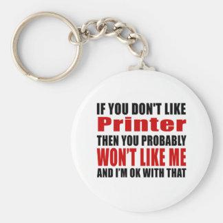 Printer Don't Like Designs Basic Round Button Key Ring
