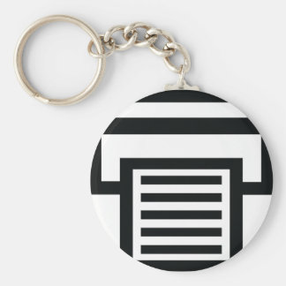 printer icon basic round button key ring