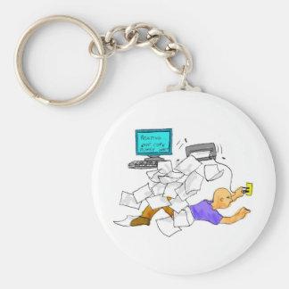 printing crasy CoPy cartum of the printer descontr Basic Round Button Key Ring