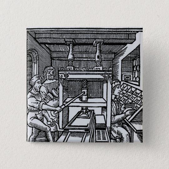 Printing press 15 cm square badge
