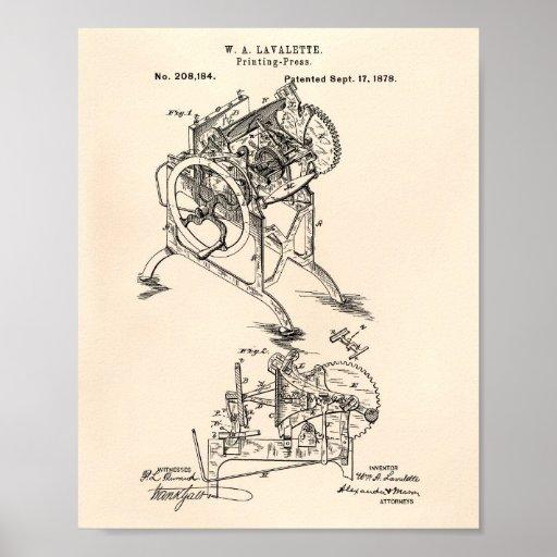 Printing Press 1878 Patent Art Old Peper Poster