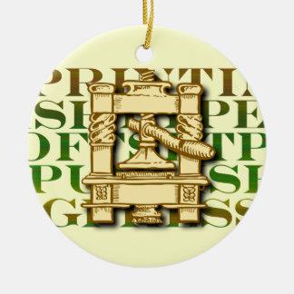 Printing Press Christmas Ornament