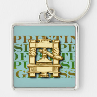 Printing Press Silver-Colored Square Key Ring