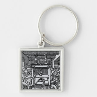Printing press Silver-Colored square key ring