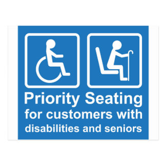 Priority Seating for customers with disabilities a Postcard