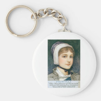 Priscilla The Mayflower of Plymouth Basic Round Button Key Ring