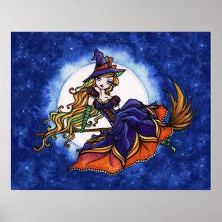 Priscilla Witch Halloween Fantasy Art Poster