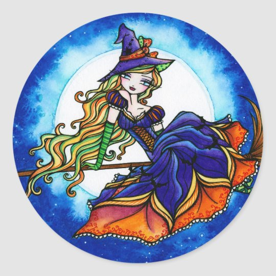 Priscilla Witch Halloween Fantasy Fairy Classic Round Sticker