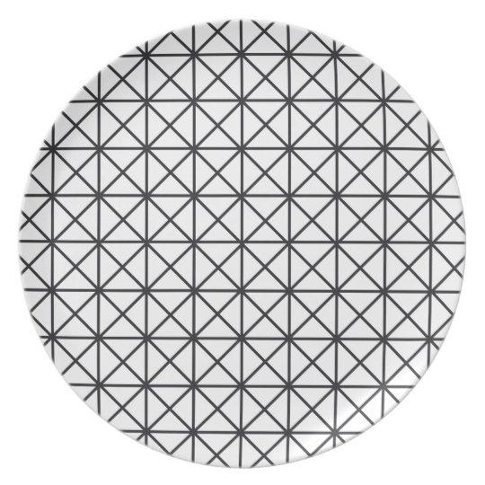Prism Black and White Melamine Plate