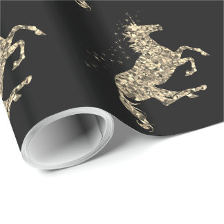 Prismatic gold unicorn black Wrapping Paper