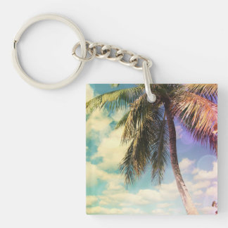 Prismatic Palm Double-Sided Square Acrylic Key Ring