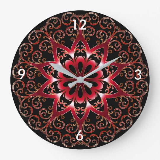 Prismatic Red Black and Gold Design Wall Clock