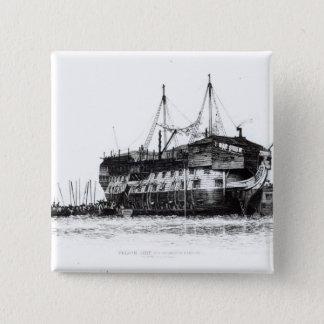 Prison Ship in Portsmouth Harbour 15 Cm Square Badge