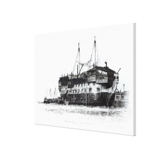Prison Ship in Portsmouth Harbour Canvas Print