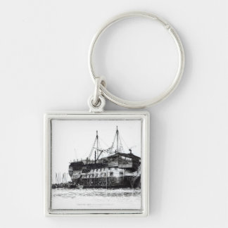 Prison Ship in Portsmouth Harbour Key Ring