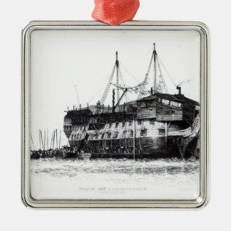 Prison Ship in Portsmouth Harbour Silver-Colored Square Decoration