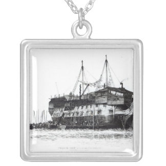 Prison Ship in Portsmouth Harbour Silver Plated Necklace
