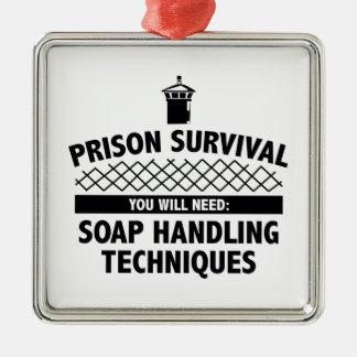 Prison Survival Silver-Colored Square Decoration