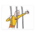 Prisoner Behind Bars Postcard