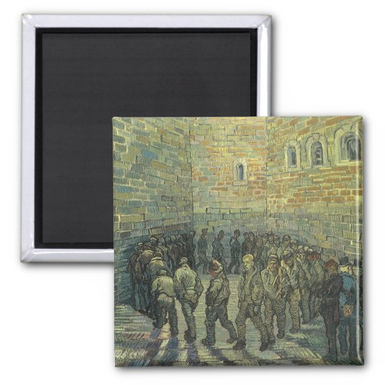 Prisoners Exercising by Vincent van Gogh Square Magnet
