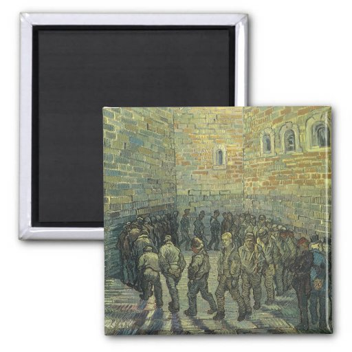 Prisoners Exercising, van Gogh, Vintage Fine Art Square Magnet