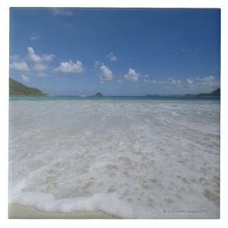 Pristine Tropical White Beach Large Square Tile