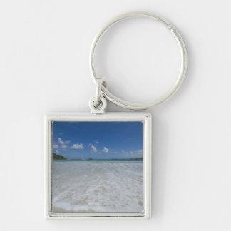 Pristine Tropical White Beach Silver-Colored Square Key Ring