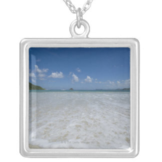 Pristine Tropical White Beach Silver Plated Necklace