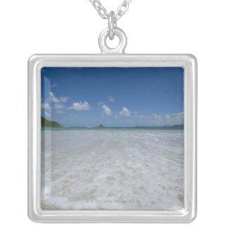 Pristine Tropical White Beach Square Pendant Necklace