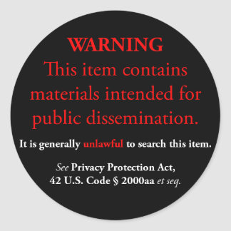 Privacy Protection Act sticker, black large round Classic Round Sticker