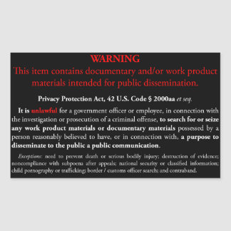 Privacy Protection Act sticker, black rectangle Rectangular Sticker