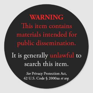 Privacy Protection Act sticker, black small round Classic Round Sticker