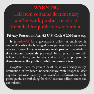 Privacy Protection Act sticker, black square Square Sticker