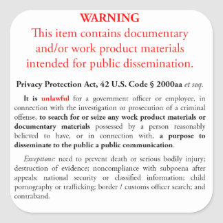 Privacy Protection Act sticker, white large square Square Sticker
