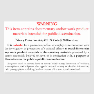 Privacy Protection Act sticker, white rectangle Rectangular Sticker
