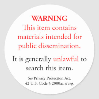Privacy Protection Act sticker, white small round Classic Round Sticker