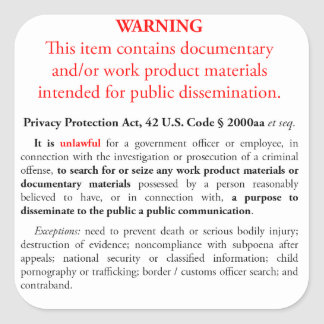 Privacy Protection Act sticker, white square Square Sticker