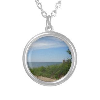 Private Beach on Lake Michigan Round Pendant Necklace