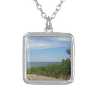 Private Beach on Lake Michigan Square Pendant Necklace