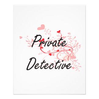 Private Detective Artistic Job Design with Hearts 11.5 Cm X 14 Cm Flyer