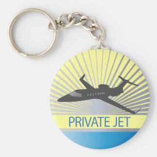 Private Jet Aircraft Basic Round Button Key Ring