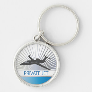 Private Jet Aircraft Silver-Colored Round Key Ring