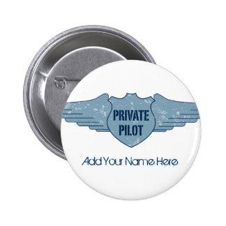 Private Pilot Blue Wings 6 Cm Round Badge