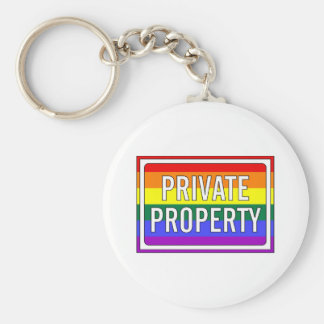 """""""Private Property"""" GLBT Pride Sign Basic Round Button Key Ring"""