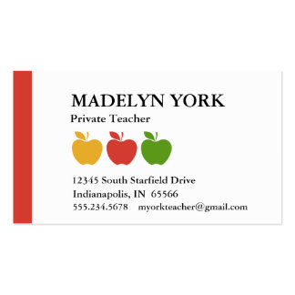 Private Teacher Tutor Pack Of Standard Business Cards