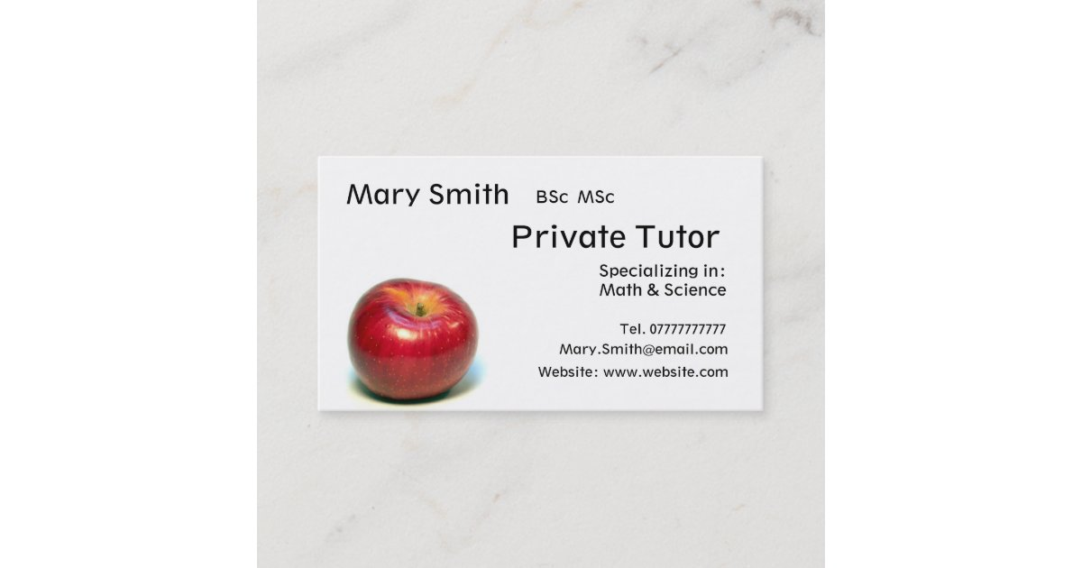 Private Tutor / Teacher / Personal Tutor business Business Card ...