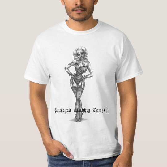 Privileged Zombie Pin Up Mens T T-Shirt